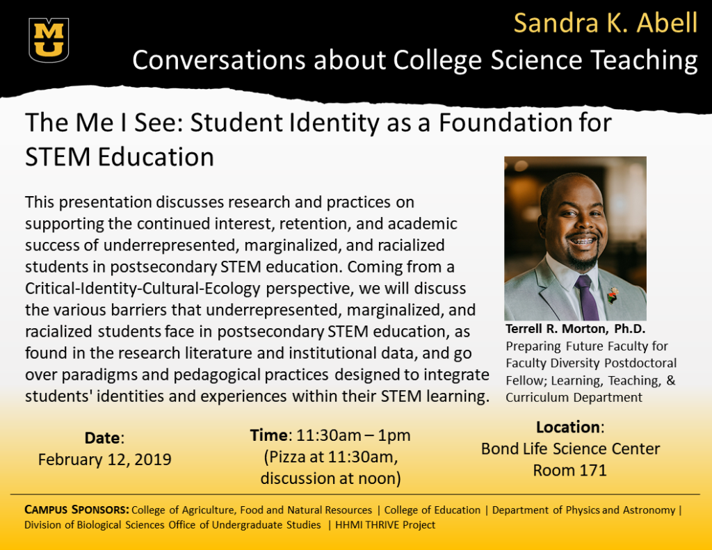 The Me I See: Student Identity as a Foundation for STEM Education | This Presentation discusses research and practices on supporting the continued interest, retention, and academic success of underrepresented, marginalized, and racialized students in postsecondary STEM education. Coming from a Critical-Identity-Cultural-Ecology perspective, we will discuss the various barriers that underrepresented, marginalized, and racialized students face in postsecondary STEM education, as found in the research literature and institutional data, and go over paradigms and pedagogical practices designed to integrate students' identities and experiences within their STEM learning.