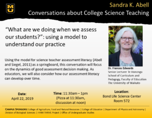 """What are we doing when we assess our students?"": using a model to understand our practice  Using the model for science teacher assessment literacy (Abell and Siegel, 2011) as a springboard, this conversation will focus on the dynamics of good assessment decision making. As educators, we will also consider how our assessment literacy can develop over time."